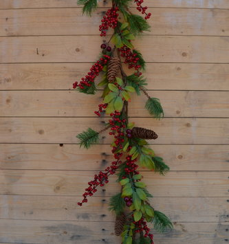 4-ft Waterproof Red Berry Pine Leaf Garland