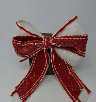 Wired Candy Cane Stitched Bow
