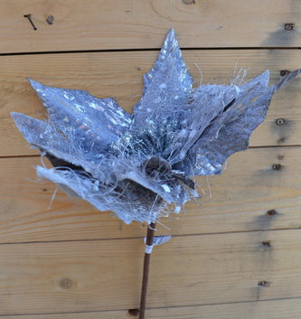 Gray & Silver Mohair Poinsettia Stem