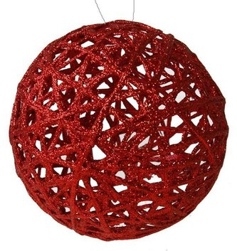 Red Glitter Lattice Ball Ornament (2-Sizes)