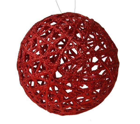 Red Glitter Lattice Ball Ornament