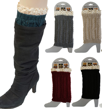 Cable Knit Lace Boot Cuff  (6 Colors)