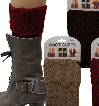 Folding Cable Knit Boot Cuff (6 Colors)