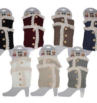 Button Lace Boot Cuff (7 Colors)