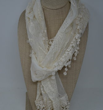 Embroidered Floral Lace Scarf