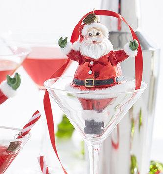 Retro Glass Santa Ornament