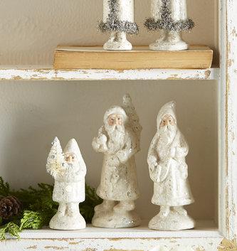 Set of 3 Vintage Shimmer Santas