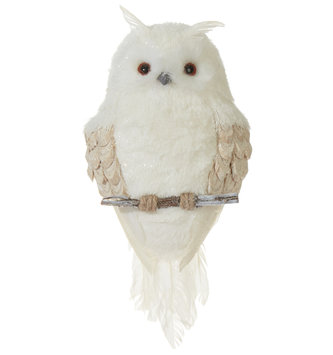 Flat Snowy Shimmer Owl Ornament