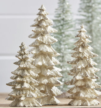 Set of 3 Cream Frosted Christmas Trees
