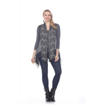 Vintage Tiered Lace Gray Vest