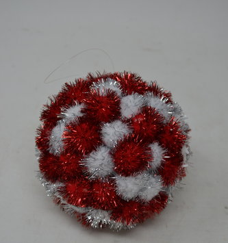 Red & Silver Tinsel Ball Ornament