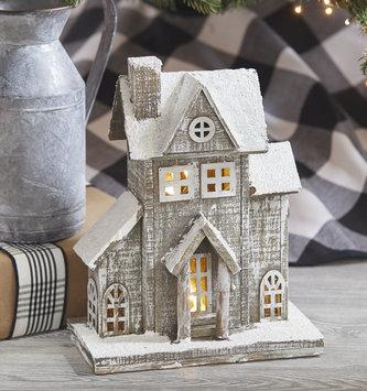 Light Up Graywashed Winter House (2 Styles)