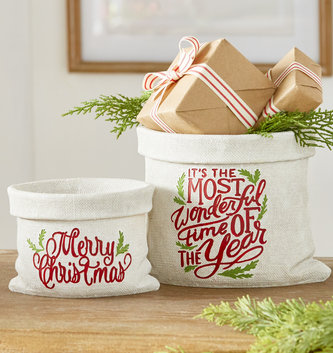 Burlap Resin Christmas Container (2 Sizes)