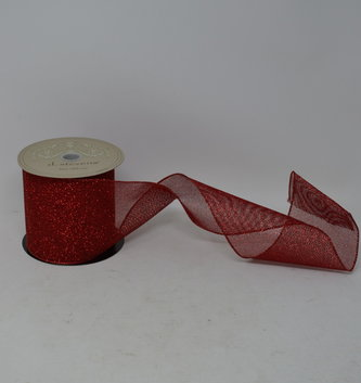 Red Glitter Mesh Ribbon