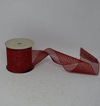 Red Glitter Mesh Ribbon