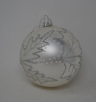 Silver Beaded Leaf Ornament