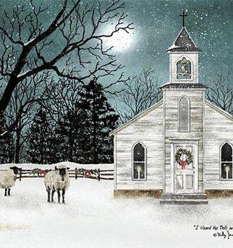 Wooden Framed Winter Church Print