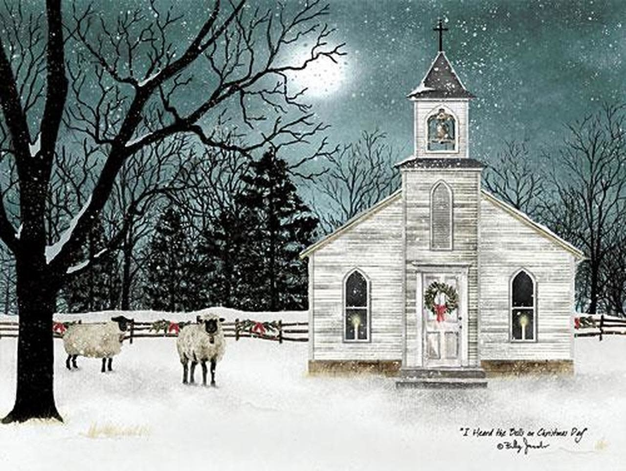 Wooden Framed Winter Church Print