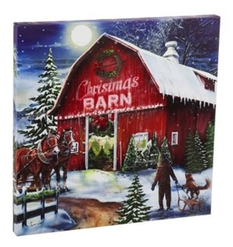 Red Christmas Barn LED Canvas