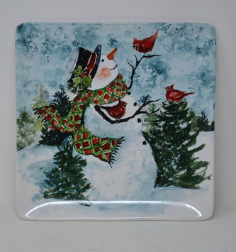 Snowman and Friends Square Platter