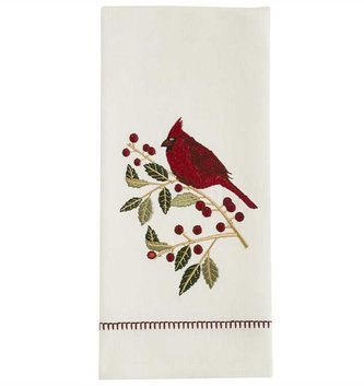 Embroidered Holly Cardinal Towel
