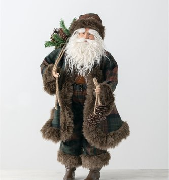 Woodland Santa with Wool Plaid Outfit