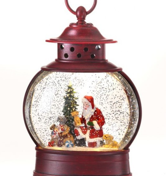 LED Red Oval Santa Snow Globe Lantern