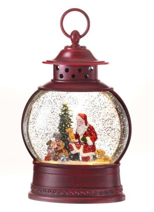 LED Red Oval Santa Snow Globe Lantern