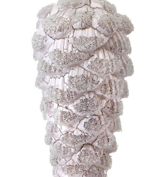 Crackle Glass Snow Pinecone Ornament
