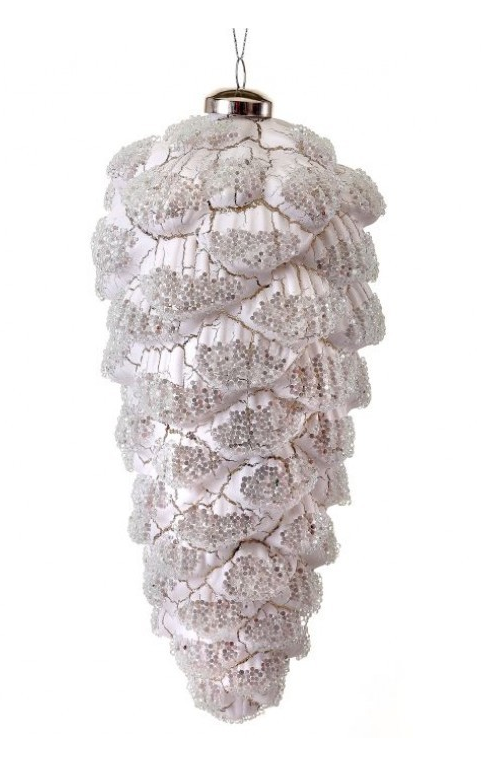 Crackle Glass Snow Pinecone Ornament