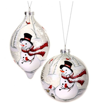 Frosted Glass Snowman and Friends Ornament