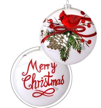 Glass Pine Cone Cardinal Christmas Disk Ornament