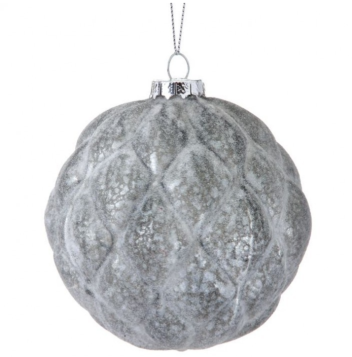 Gray Frosted Textured Ball Ornament