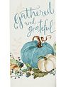 Gather and Grateful Blue and Cream Pumpkin Towel