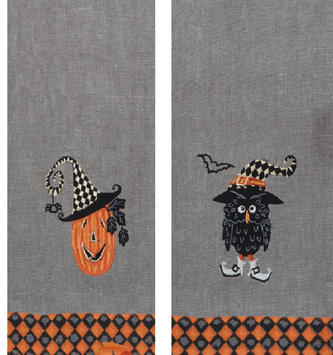 Embroidered Gray Halloween Towel