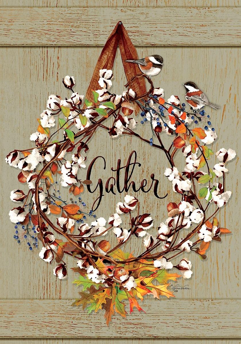 Cotton Wreath Fall Garden Flag
