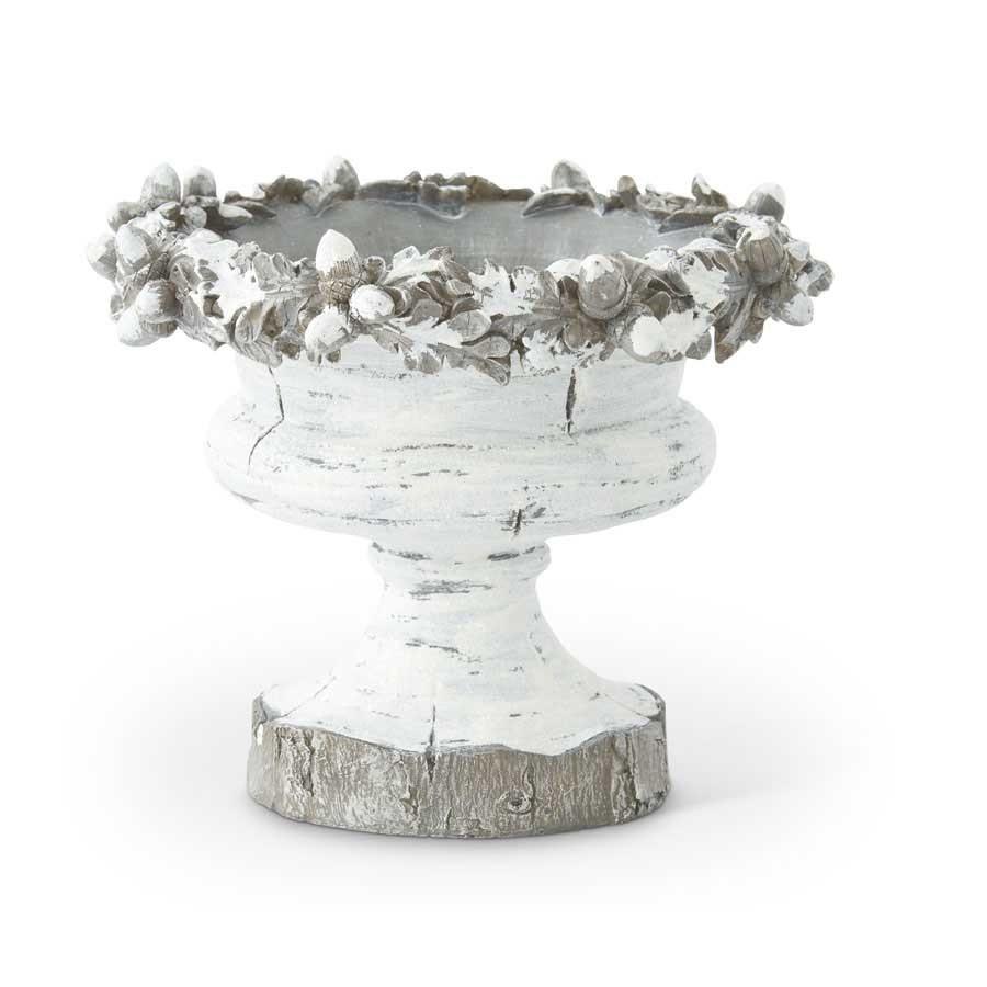 "12"" Resin Antique White Acorn Bowl"