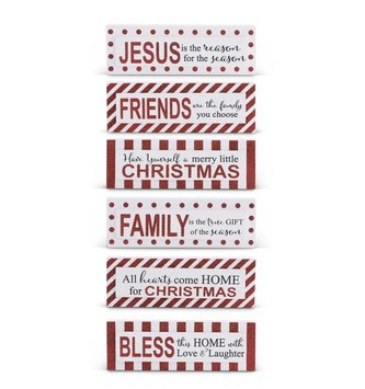 Red & White Christmas Message Block Sign