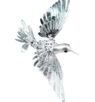 Clip-On Silver Glitz Hummingbird