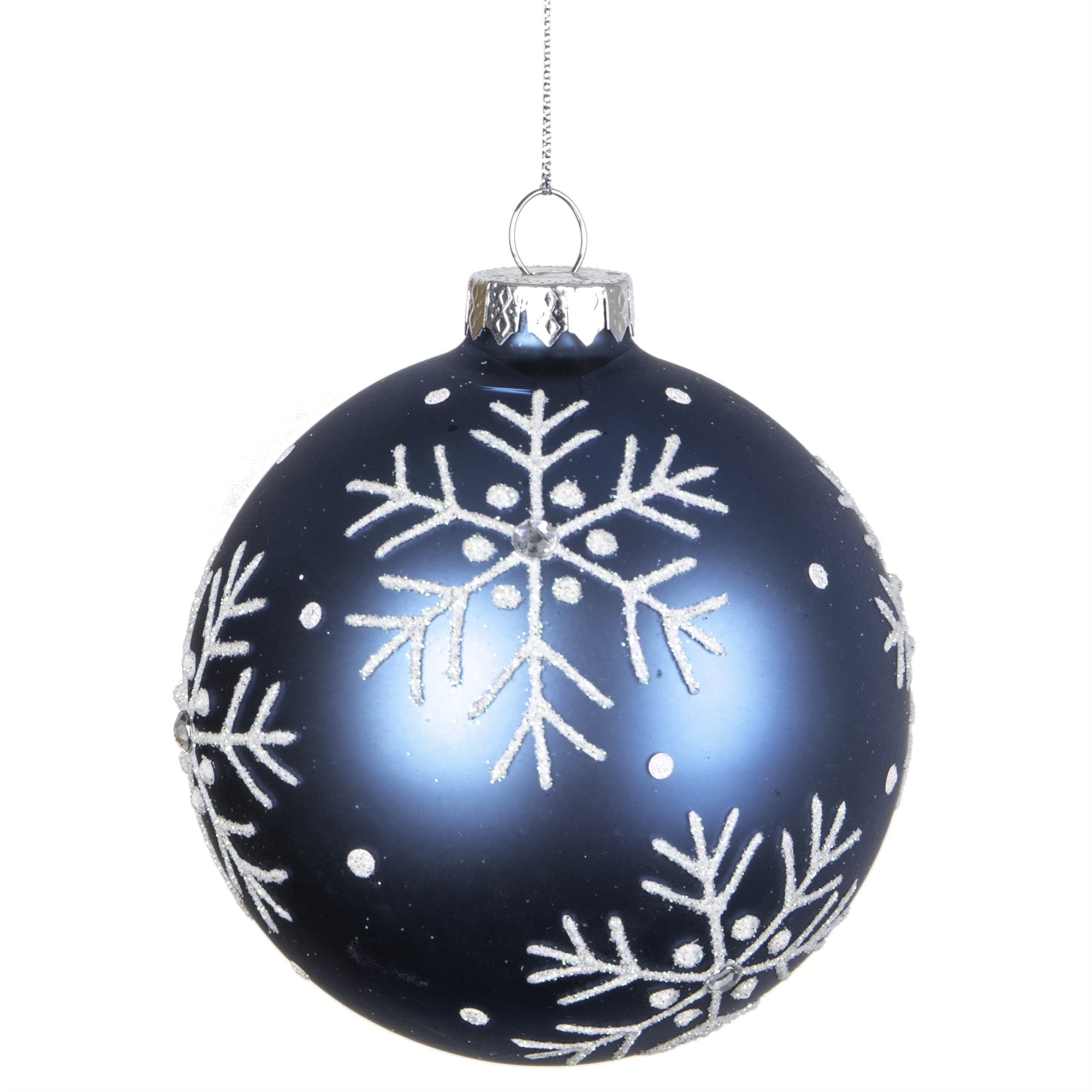Round Blue Glass Snowflake Ornament