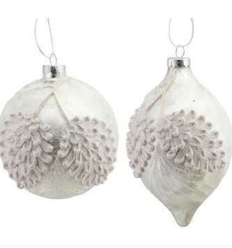 White Frosted Pine Cone Ornament