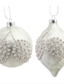 White Frosted Pinecone Ornament