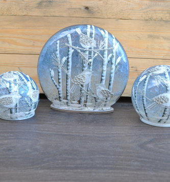 LED Frosted Orb w/ Birds (3 Styles)