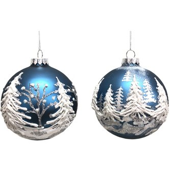 Round Blue Winter Forest Ornament (2 Syles)