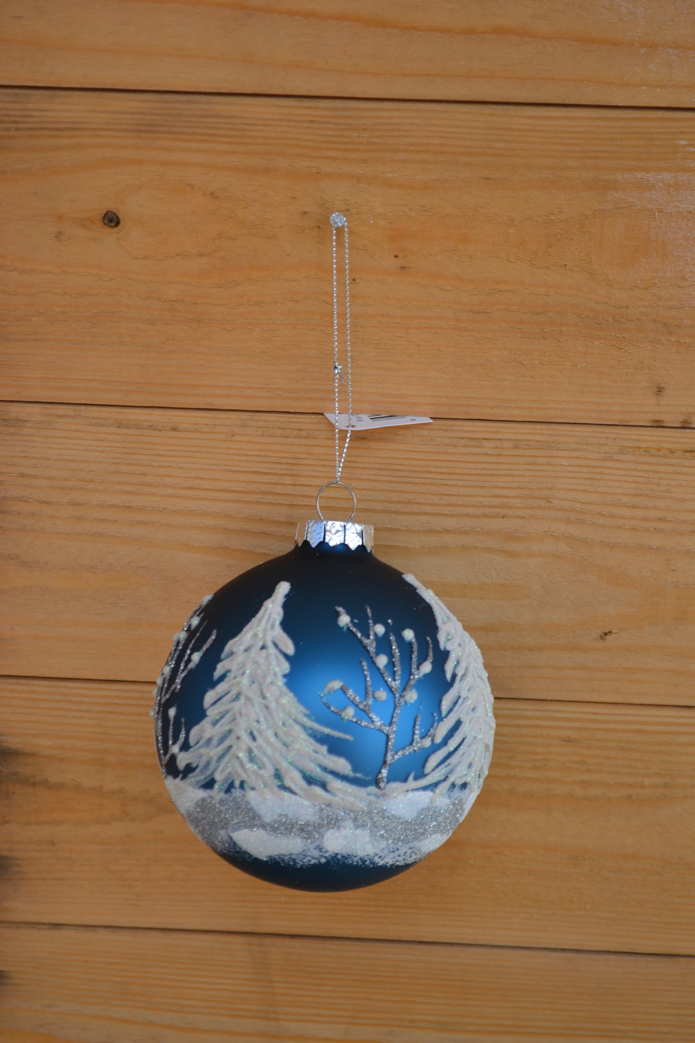 Round Blue Winter Forest Ornament