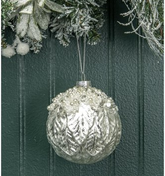 Round Glass Pearl Leaf Ornament