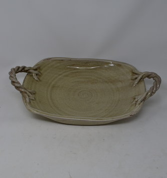 Hand Thrown Crackle Tray with Twisted Handles