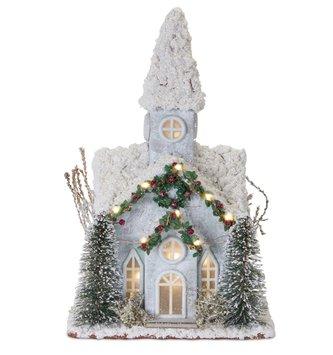 American Holiday Snowy Pre-Lit Church
