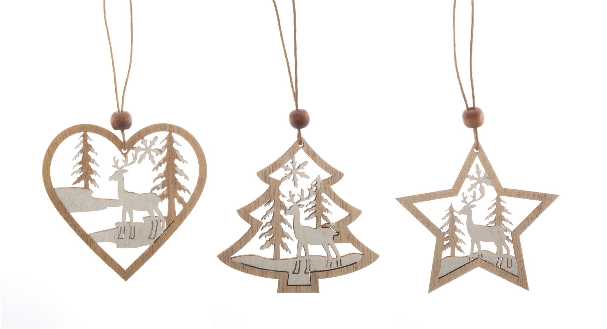 Set of 9 Wooden Cut-Out Ornaments