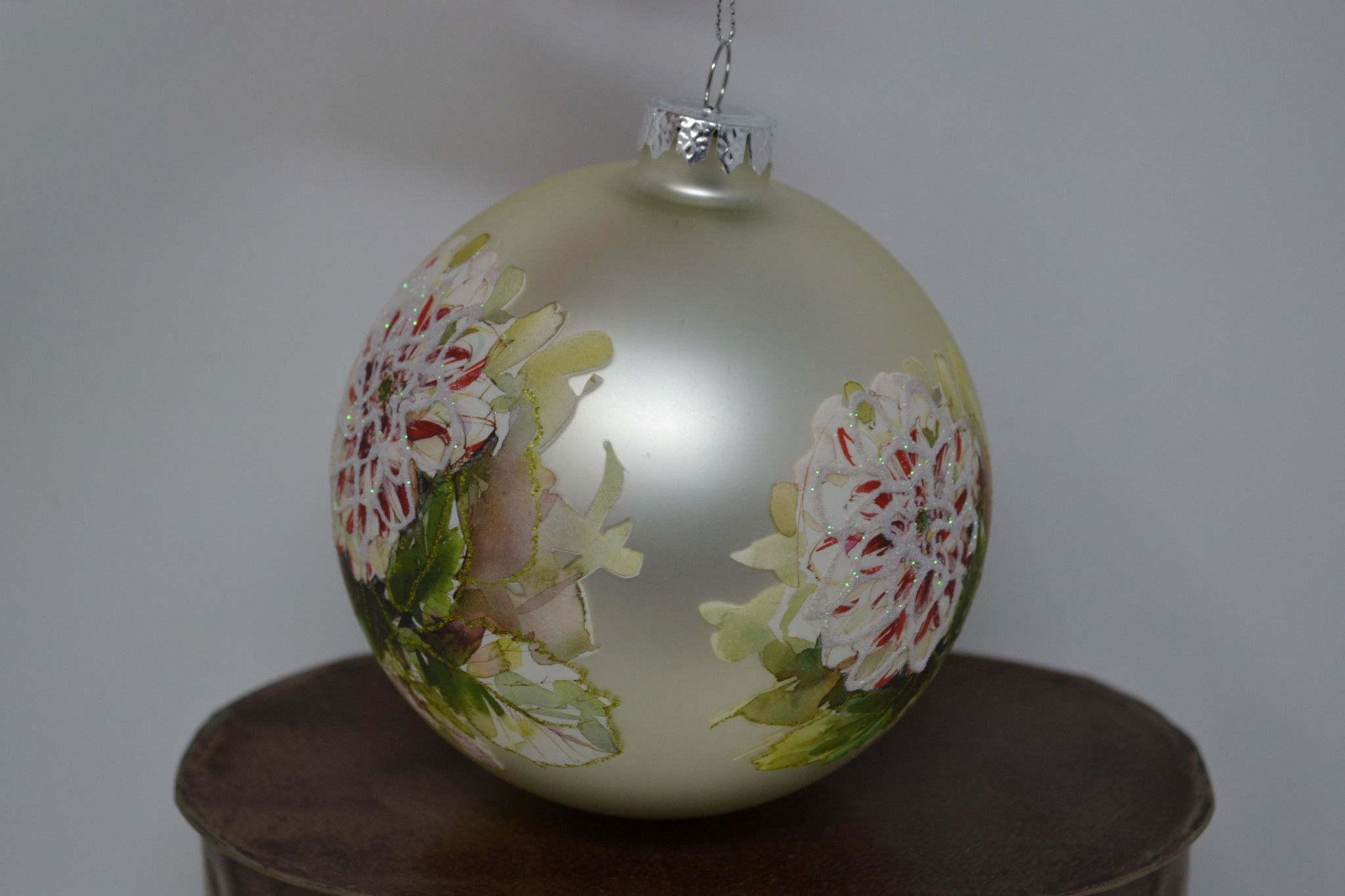 Glass Floral Ball Ornament (2 Styles)